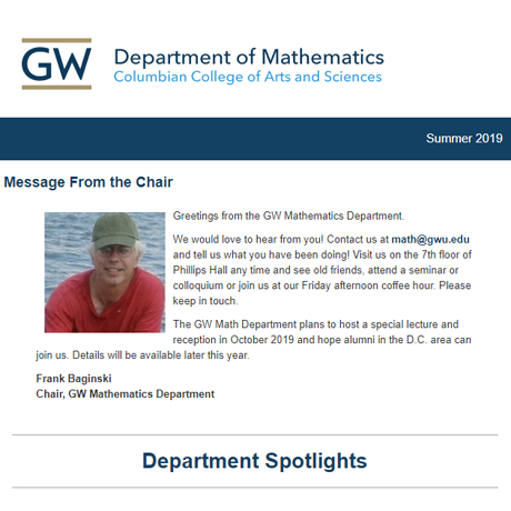 Screen capture of the GW Department of Mathematics' Summer 2019 Newsletter.