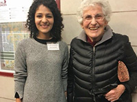 Graduate student Rhea Palak Bakshi with Professor Joan Birman at a conference in Chicago, October 2017