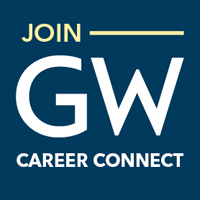 Buff, blue, and white Join GW Career Connect graphic.