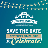 Graphic for GW Colonials Weekend 2019 from September 20-22 with Kogan Plaza gate silhouette.