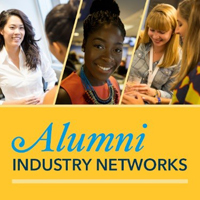 Alumni Industry Networks graphic with three students.