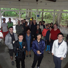 Math students and faculty gathered at a picnic.