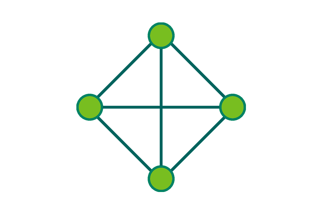 icon of a network connecting several dots