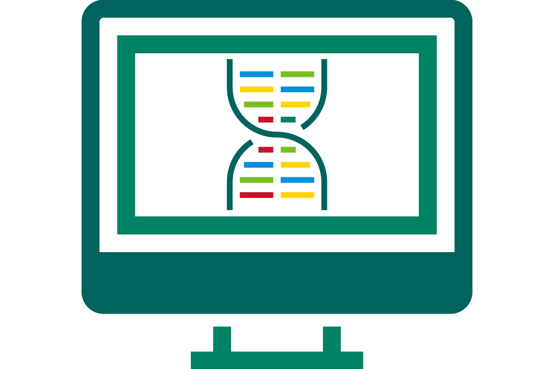 icon of a dna strand on a computer screen