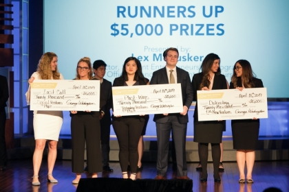 Three student teams won funding for their startups as top winners in GW's 2019 New Venture Competition.